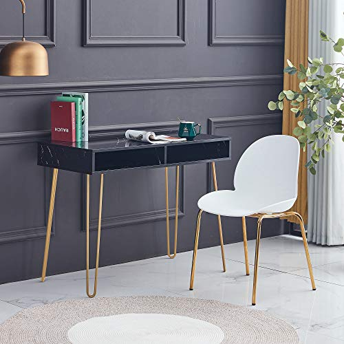 HomVent Faux Marble MDF Top Computer Desk with Storage, Hairpin Writing Desk with 2 Spacious Open Storage Cubbies, Simple Study Makeup Vanity Table Modern Furniture for Home Office (Black)