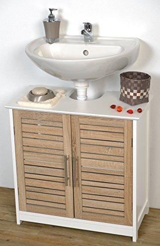 Meuble Dessous de lavabo ou Evier - 2 Portes et 1 étagère - Aspect Chêne vieilli