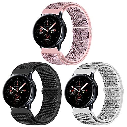 KIBDSNG Pack de 3 correas de 20mm compatibles con Samsung Galaxy Watch 3 41mm/Galaxy Watch Active 2 40mm 44mm, correa de repuesto para Gear S2 Classic/Garmin Vivoactive 3