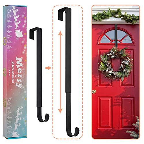 DOIOWN Wreath Hangers, Over Door Adjustable Wreath Hanger for Front Door Metal Wreath Hook Wreath Holder for Christmas Decorations (Nickel)