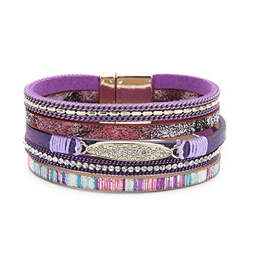 ZCHSLSZ Crystal Multilayer Armbänder Für Frauen Gold Ton Magnet Leder Breite Armbänder Armreifen Schmuck &Amp; Lila