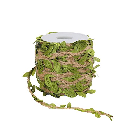 Tenn Well Jute Twine with Leaf, 66 Feet Leaf Ribbon with Coil for Wedding Home Garden Decoration