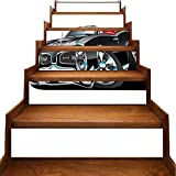 Stair Sticker Decals Fancy American Nostalgic Sports Muscle Car with Speeding Wheels Wealthy Tires Symbol...