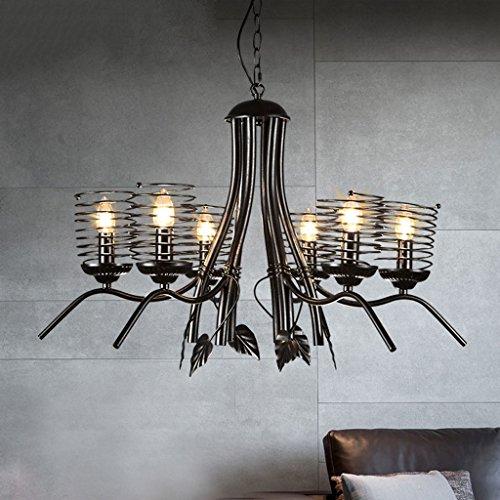 Kronleuchter Schlafzimmer Retro-Leuchter-Deckenpendelleuchte - 6 Kopf E14 Lichtquelle Schwarz Gemälde Frühling Kreative Pendelleuchten for Wohnzimmer