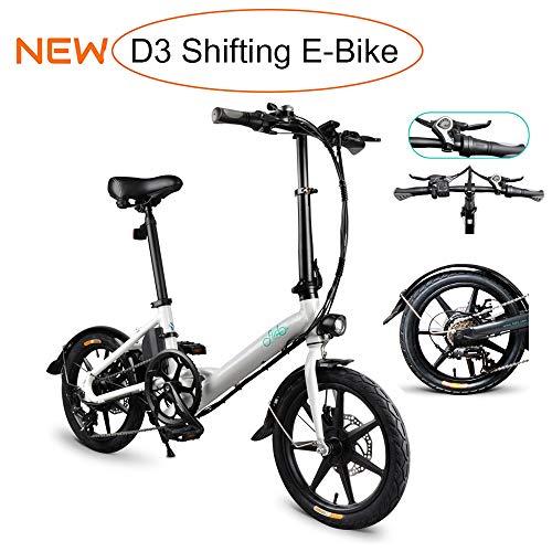 gaeruite D3 Shifting Ebike, Bicicletta elettrica Pieghevole per Adulto, Scooter Elettrico da 16 Pollici con Faro LED 250W E-Bike Pieghevole con Freno a Disco Fino a 25 km/h (D3 Shifting White)