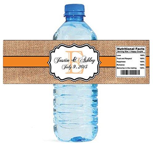 "100 Burlap Tangerine Wedding Anniversary Engagement Party Water Bottle Labels 8""x2"""