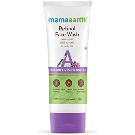 Mamaearth Retinol Face Wash with Retinol & Bakuchi for Fine Lines and Wrinkles – 100 ml