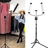 Lámpara LED de luz diurna con trípode y soporte para teléfono móvil, kit de luz LED flexible para grabaciones de vídeo, selfies, streaming en directo, maquillaje