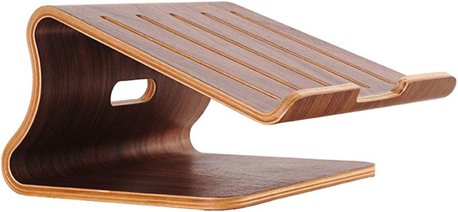 Wooden Desk Computer Monitor Stand,Desktop Organiser Shelf Solid Wood Phones Unit Modern Style for Home Office Standard Organization Rack Household Products (color   Brown)