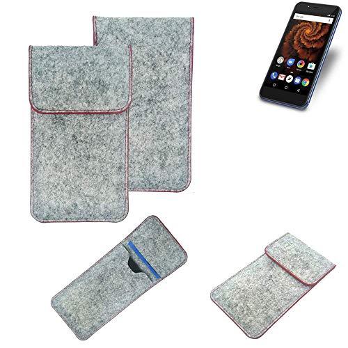 K-S-Trade® Handy Schutz Hülle Für Allview X4 Soul Mini S Schutzhülle Handyhülle Filztasche Pouch Tasche Hülle Sleeve Filzhülle Hellgrau Roter Rand