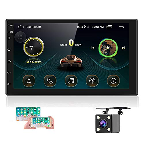 Hikity 2 DIN Android Radio de Coche con Bluetooth 7 Pulgadas Pantalla Táctil Estéreo de Coche GPS Doble DIN Autoradio Pantalla Soporta Enlace a los Espejos Conexión WiFi + Cámara de Seguridad