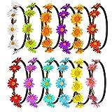 FEPITO 12 Pcs Fleur Bandeau Guirlande Multicolore Couronne Florale Bohême Floral Couronne pour Femmes Filles Accessoires De Cheveux
