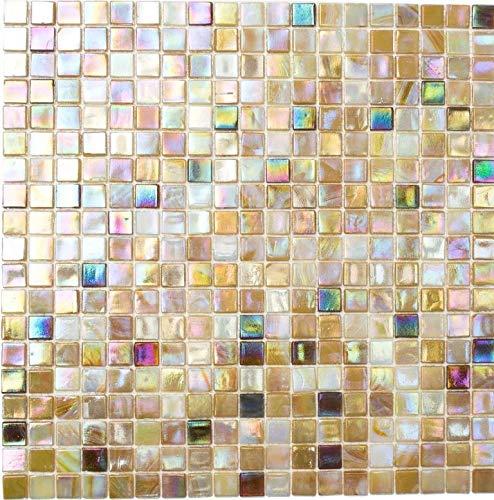 Mosaik Fliese Glas sandfarbend für BODEN WAND BAD WC DUSCHE KÜCHE FLIESENSPIEGEL THEKENVERKLEIDUNG BADEWANNENVERKLEIDUNG Mosaikmatte Mosaikplatte
