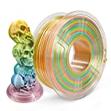 PLA Filament 1.75mm Silk Rainbow Multicolor, SUNLU Multicolor Filament PLA 1.75mm, 3D Printing Filament PLA for FDM 3D Printer, 1KG PLA Shiny silk…