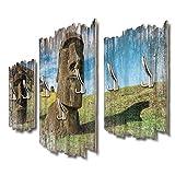 Kreative Feder Moai DTGH078 - Perchero de Pared (95 x 60 cm, Tablero DM), diseño de Islas de Pascua
