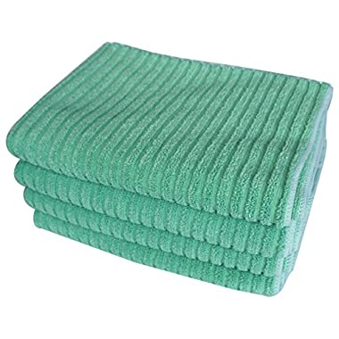 Gryeer Bamboo and Microfiber Kitchen Towels - Super Absorbent, Large and Thick Dish Towels (4 pack, 20x30 Inch) - One Side Ribbed One Side Smooth Tea Towels - Green
