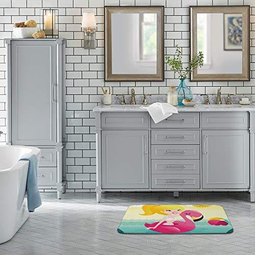Sitear Cartoon gelukkig bikini meisje op flamingo zwembad {aangepast, gepersonaliseerd} koraal fluweel badkamer mat vloer tapijten zachte duurzame antislip keuken absorberende Pad