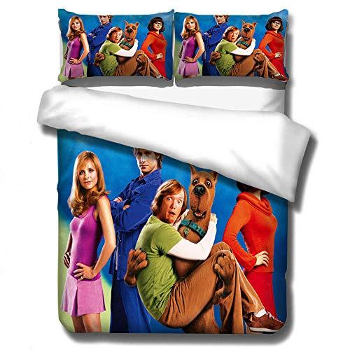 Scooby Doo movie 3D niños adultos y adolescentes funda nórdica juego de ropa de cama, suave y cómoda funda de edredón decoración de dormitorio ropa de cama textiles para el hogar-A_173x218cm (3pcs)