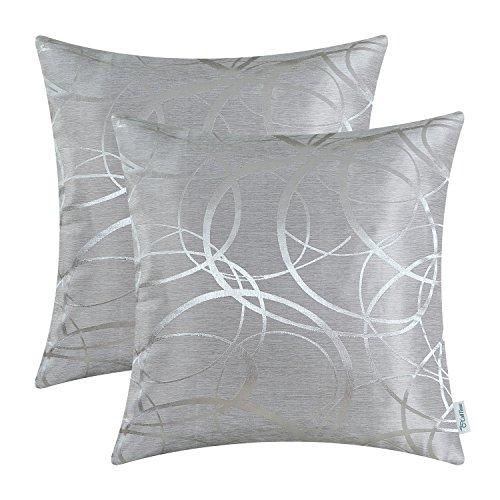 CaliTime Kissenbezüge Kissenhülle Packung mit 2 Dekokissen Cases Schalen für Couch Sofa Home Decor Modern Shining & Dull Contrast Circles Ringe Geometric 50cm x 50cm Silber Grau