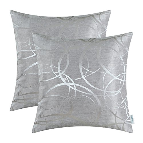 CaliTime Cushion Covers Pack of 2 Cushion Covers Throw Pillow Cases Shells for Couch Sofa Home Decor Modern Shining & Dull Contrast Circles Rings Geometric 40cm x 40cm Silver Gray