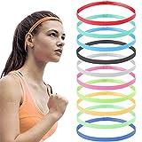 YUTOU - 10 cintas elásticas para el pelo para deportes, gruesas, antideslizantes, delgadas, deportivas, antideslizantes, para gimnasio, fútbol, tenis, yoga, correr (10 colores)