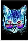 APAZSH Lienzos Decorativos Arte Abstracto Gato de neón con Gafas de Sol Lienzo Arte póster y Arte de Pared impresión de Cuadros Poster de Decoracion 40x60cm x1 Sin Marco