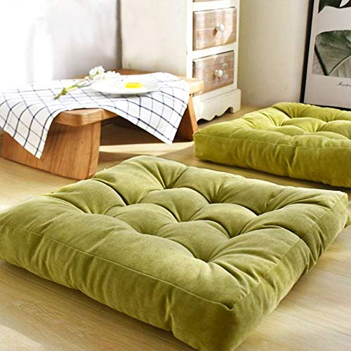 EGOBUY Solid Square Seat Cushion, Floor Pillow Tufted Thicken Sitting Pillows for The Floor Chair Pad for Tatami Meditation Office Kitchen Chair Bench Sofa, 22x22 Inch / 55x 55 cm, Green