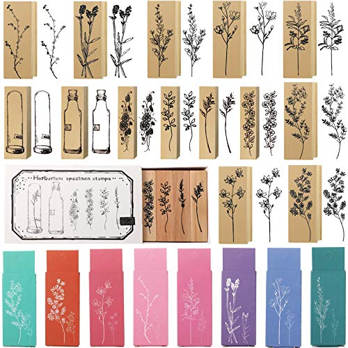 15 Pieces Wooden Rubber Stamp Vintage Wooden Stamps Plant and Flower Decorative Vintage Mounted Rubber Stamp Set for DIY Craft, Card Making, Letters Diary, Craft Scrapbook Painting (Vivid Style)