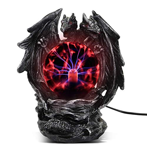 Plasma Ball Lamp Touch Sensitive,Party Magical Electrostatic Red Color Crystal Ball for Halloween (Evil Dragon)