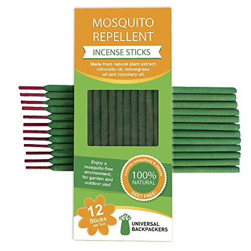 Universal Backpackers Mosquito Repellent Incense Sticks 3 Pack (12 per Pack) - Natural Insect Coils with Citronella, Rosemary & Lemongrass - Bug Repelling Candles - 12 inch & Burn 2.5 Hours