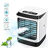 Portable Air Cooler, Mini Air Conditioner, 3 in 1 Personal Evaporative Cooler, Humidifier, Purifier with 7 Colors LED Light, 3 Speed Desktop Cooling Fan for Home, Room, Office