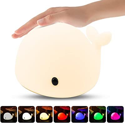 Luz Nocturna Infantil, Luz de Noche Bebé Lámpara Multicolor LED Silicona, Brillo Ajustable, Luz Táctil de Luz de Noche Recargable para Bebés Niño Dormitorio [Clase de eficiencia energética A++]