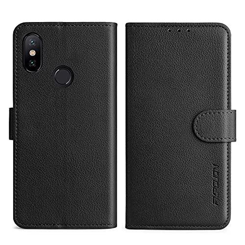 FMPCUON Handyhülle Kompatibel mit Xiaomi Mi A2 (Mi 6X) Hülle Leder PU Leder Tasche,Flip Hülle Lederhülle Handyhülle Etui Handytasche Schutzhülle für Xiaomi Mi A2 (Mi 6X),Schwarz