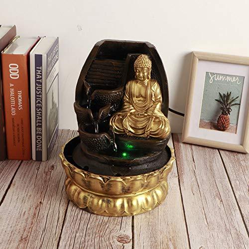 【 】 Decoración de la Estatua de Buda de Escritorio, Adorno de Fuente de Agua con luz LED con Bomba de Agua para la decoración de la Sala de té de la Oficina en casa(16107 Enchufe