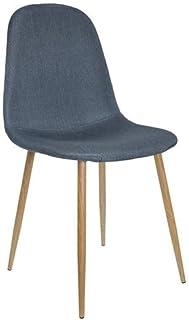 ZONS – Lote de 4 sillas de comedor de madera de Estocolmo, color azul y gris