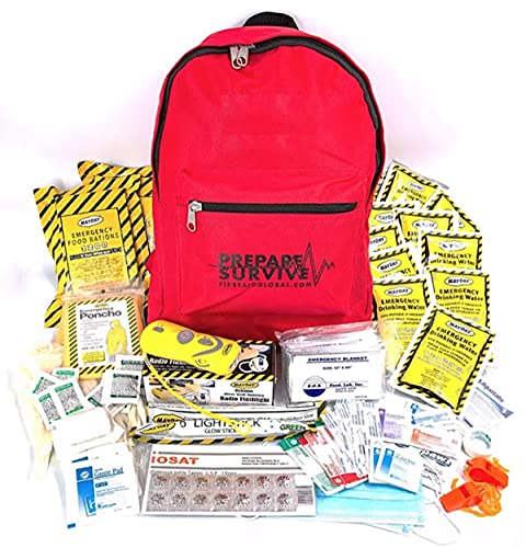 Emergency Preparedness Backpack for 2 Persons by PrepareSurvive (Red)
