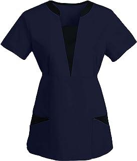 PJQQ Scrub Top Women,Dentista Women Short Sleeve V-Neck Tops Working Uniform Cartoon Print Blouse Women Classica con Bottone V-Neck Top Camice Medico Donna Uniformi Sanitarie con Tasca