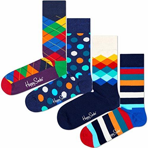 Happy Socks 4 Paar Mix Geschenkbox - XMIX09 - Damen & Herren-Socken (41-46)