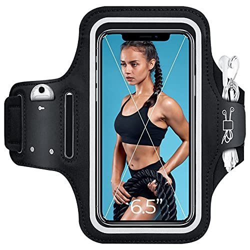 Phone Armband for Running, Armband Cell Phone Holder for iPhone 11/12/X/XS/XR/8/7/6/5, Samsung Galaxy s6/s7/s8, Huawei, Google, Sony, Exercise Phone Case for Women, Men, Runners with Reflective Straps
