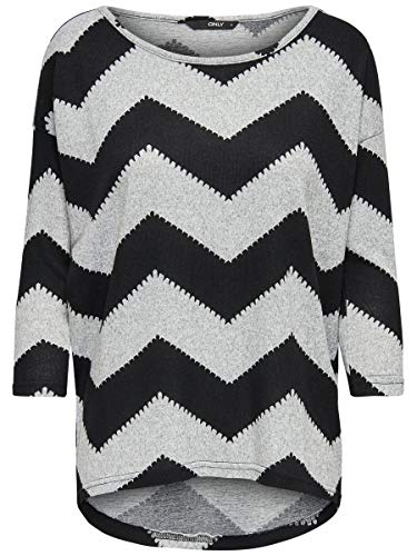Only onlELCOS 4/5 AOP Top Jrs Noos T-Shirt, Multicolore (Light Grey Melange AOP:w. Black Zigzag), XXL Donna