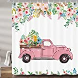 JAWO Farmhouse Flower Shower Curtains for Bathroom, Pink Farm House Truck Rustic Fabric Shower Curtain Set, Spring Floral Bathroom Accessories Decor, Hooks Included (60' W X 70' H)