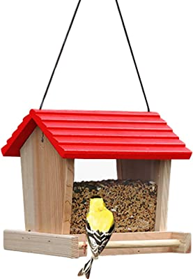 Creation Core Outdoor Wooden Bird Seed Feeder Porch Decorative Bird House Accessories for Woodpeckers, Cardinals, Large Birds(Style A)
