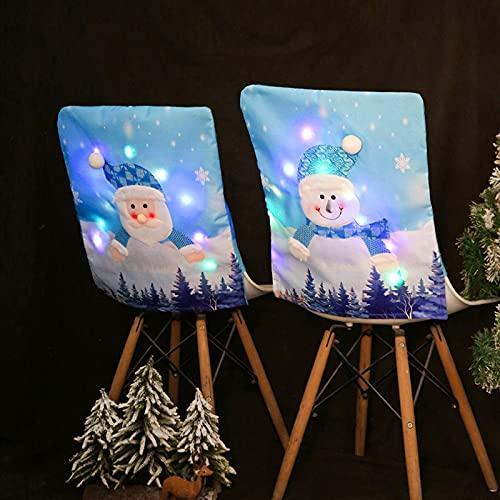 UELEGANS Cubierta De La Silla Decoración De Navidad con Luz LED, 2 PCS Home Fundas para Sillas De Papá Noel Cubiertas La Silla Respaldos Navideños para Decoración Fiesta Cena De Navidad