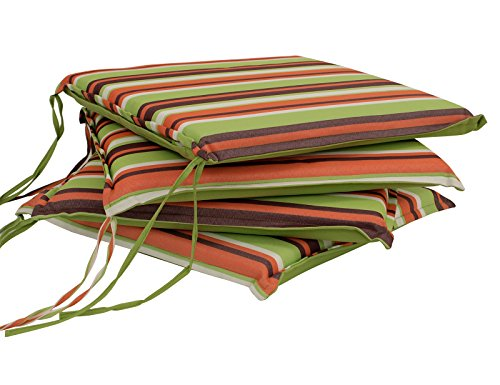 DEGAMO 4-er Set Sitzkissen MALLAWI 41x41cm, hellgrün gestreift, 4 Stück