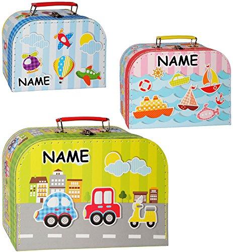 alles-meine.de GmbH alles-meine.de GmbH 3 TLG. Set _ Kinderkoffer / Koffer - MITTEL - Fahrzeuge - Flugzeug / Schiff / Auto - incl. Name - ideal als Geldgeschenk und für Spielzeug - Mädchen & Jun..