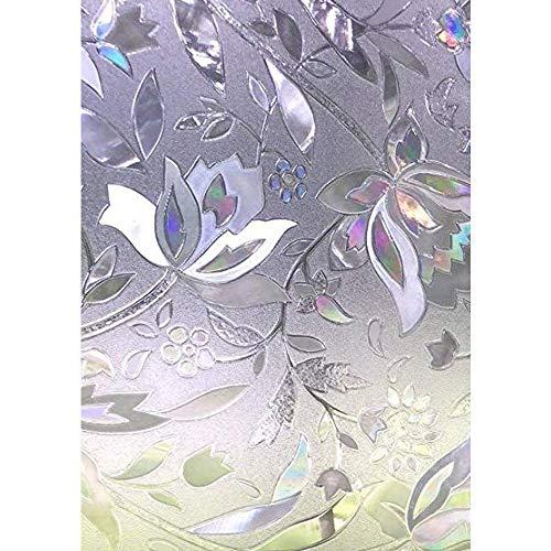 Zindoo 3D Zonder Lijm Raamfolie Decoratieve Folie Privacy Folie Bloem Ontwerp Privacy Bescherming Raamfolie voor Thuiskeuken Kantoor 90 * 200CM