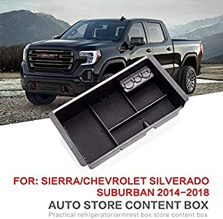 SENYAZON Center Console Organizer for GMC Sierra Yukon/Chevrolet Tahoe Silverado Suburban 2015-2018 (Full Console w/Bucket Seats ONLY)