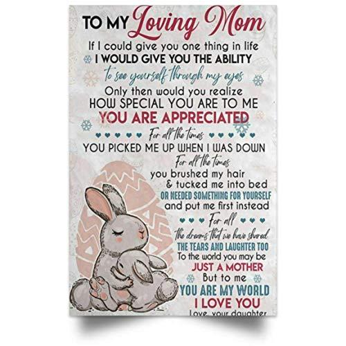 Cartel de metal con texto en inglés 'To My Loving Mom', diseño de conejo con texto en inglés 'I Love You Love Your Daughter', para decoración de pared, 20 x 30 cm