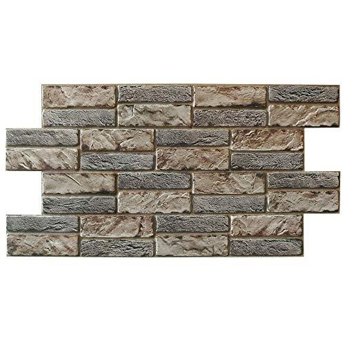 Panel de PVC imitación piedra expandida oscura grosor 0,4 mm medida 98 x 48 cm