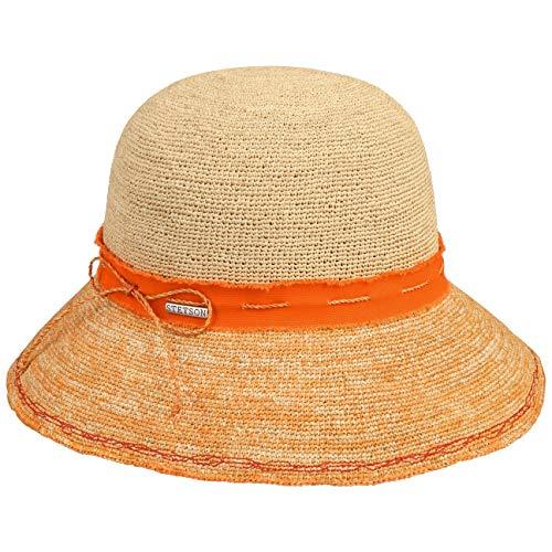 Stetson Crochet Damen Strohhut Damenhut Strandhut Sommerhut Sonnenhut - mit Ripsband Frühling-Sommer - XL (60-61 cm) orange